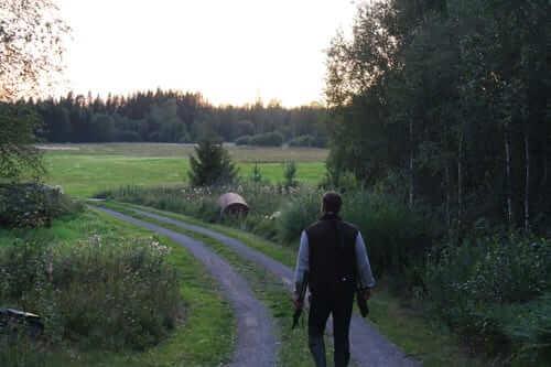 På väg ut mot jaktmarkerna för pyrschjakt på räv